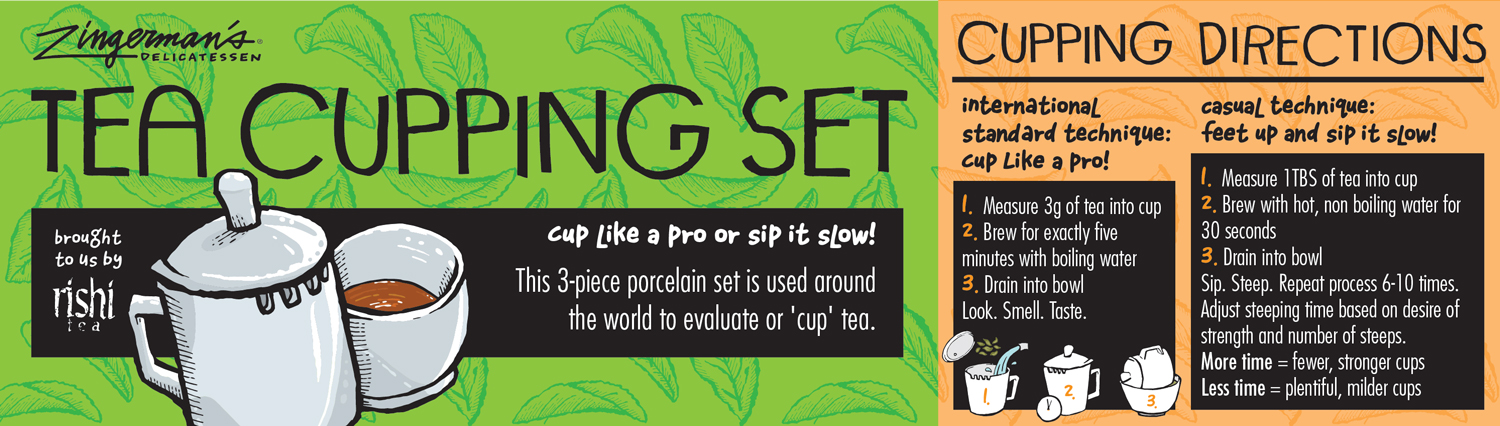 Zingerman's Tea Cupping Set label design in green and orange with tea leaves background