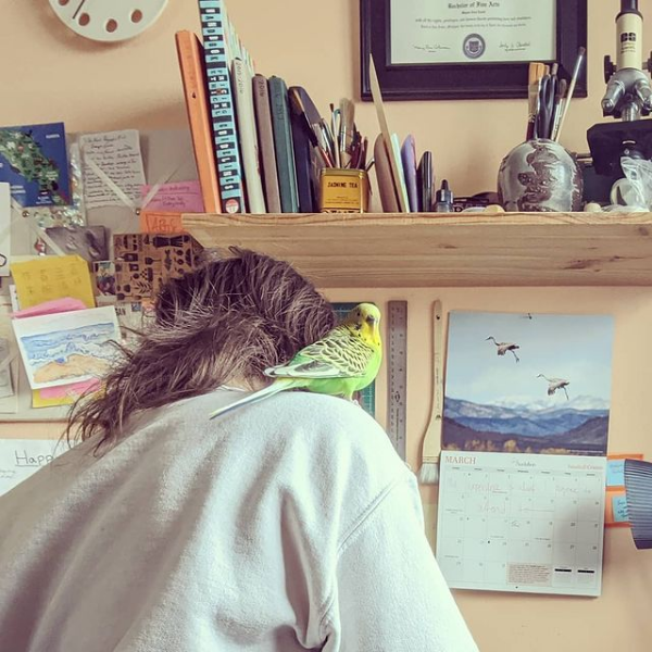 Opa, the green parakeet on my shoulder as I work at the drafting table in my studio