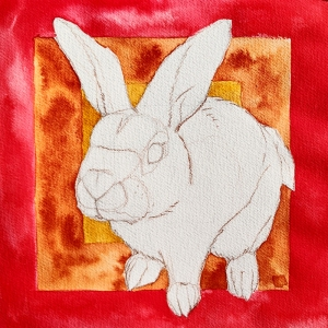 Background of bunny portrait inked in red, ochre and sienna - watercolor effect. Sketch of bunny in negative space.