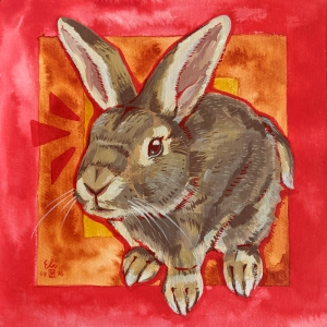 Portrait of a painted bunny finished with gouache and acrylic ink outlines.