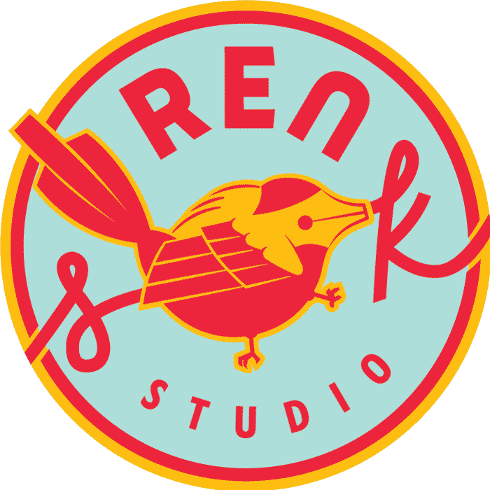 Ren S.K. Studio Logo in blue, red and yellow