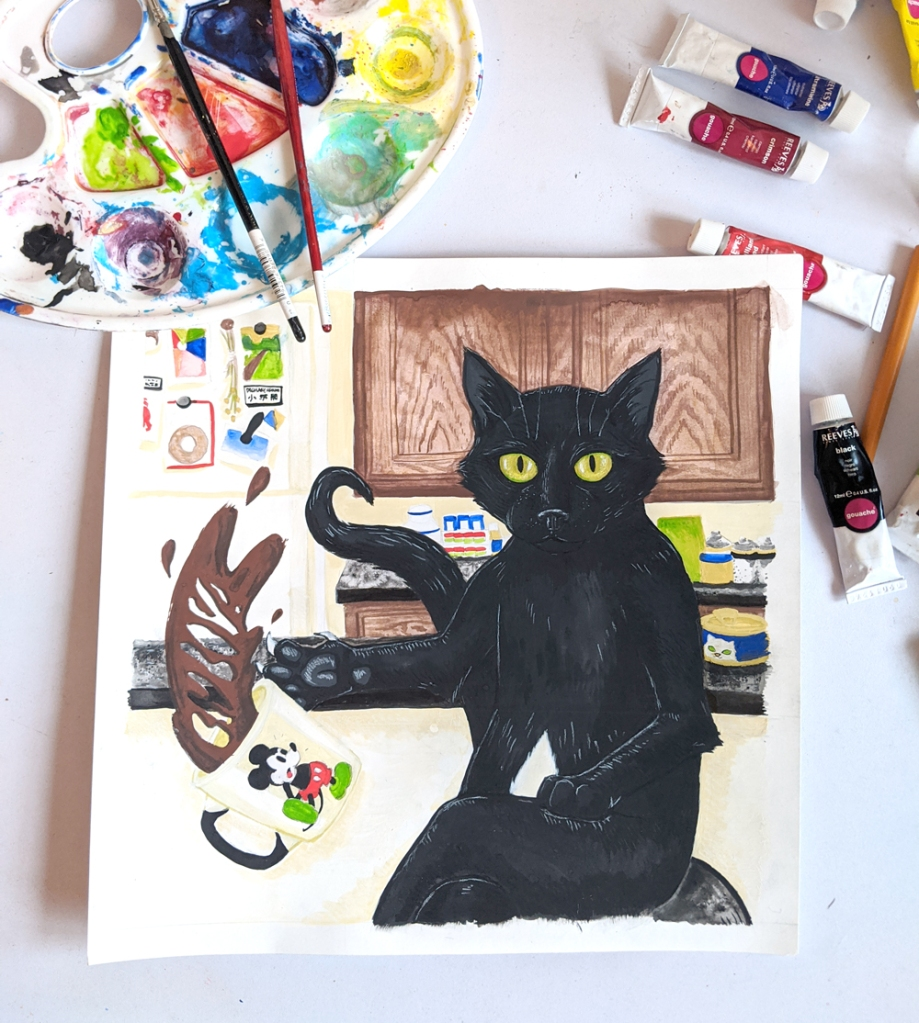 Gouache painting on Gumbo the cat in progress, on a drafting table surrounded by paint tubes and brushes.