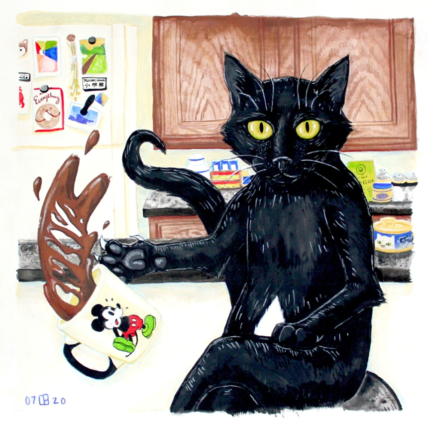 Portrait of Gumbo the black cat in gouache and colored pencil. He is a black cat sitting in a human pose, dropping a cup of coffee.