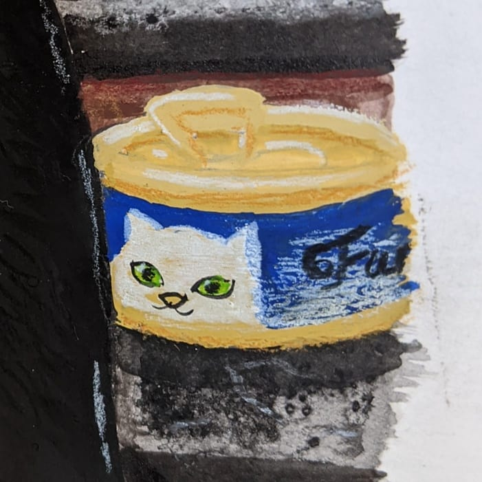A close up of a painted can of cat food in gouache and colored pencil