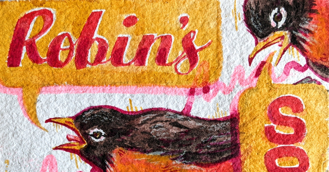 Featured cropping of the illustration of two robins singing with speach bubbles that say 'Robin's Song'