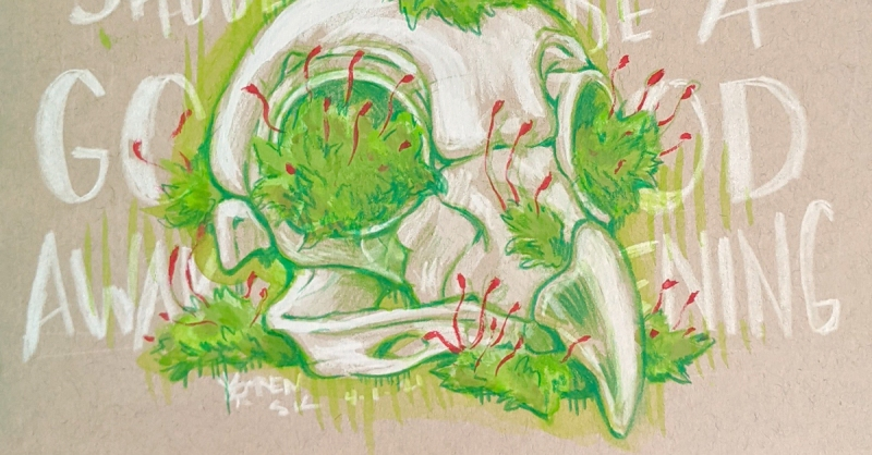 """Sketchbook open to a drawing of a bird skull with moss growing on it, text behind says """"SHOULD BE A GOOD AWAKENING"""""""