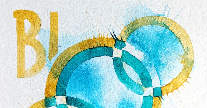 Cropped image of abstract circular illustration of covid-19 virus in blue, teal and ochre. B117 written around it.